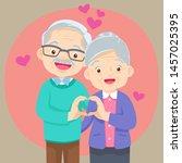elderly couple holding hands ... | Shutterstock .eps vector #1457025395