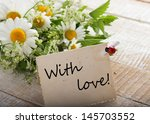 postcard with fresh flowers and ... | Shutterstock . vector #145703552