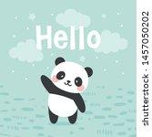 panda vector print  baby shower ... | Shutterstock .eps vector #1457050202