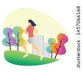flat illustration women jogging ...