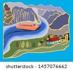 fjord scandinavia. vacation.... | Shutterstock .eps vector #1457076662