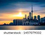 Toronto City Skyline At Sunset  ...