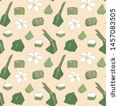 seamless pattern with hand... | Shutterstock .eps vector #1457083505