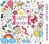 hand drawn party doodle happy... | Shutterstock .eps vector #1457111822