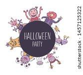 vector poster halloween party... | Shutterstock .eps vector #1457125322