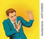 pop art comic retro scared men...   Shutterstock .eps vector #1457134835