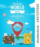 travel background with luggage  ... | Shutterstock .eps vector #1457157035