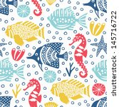 marine life seamless background  | Shutterstock .eps vector #145716722