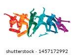 skate people silhouettes...   Shutterstock .eps vector #1457172992