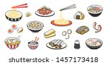 doodle asian food. chinese... | Shutterstock .eps vector #1457173418