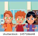 childhood cute school students... | Shutterstock .eps vector #1457186648