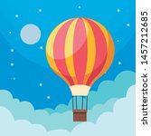 hot air balloon in sky and... | Shutterstock .eps vector #1457212685