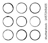 set hand drawn circle frame.... | Shutterstock .eps vector #1457245655