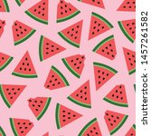 watermelon seamless pattern on... | Shutterstock .eps vector #1457261582