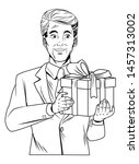 man avatar with gift box... | Shutterstock .eps vector #1457313002