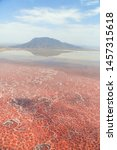 Aerial view of Lake Natron in the Great Rift Valley, on the border between Kenya and Tanzania. The Rift Valley contains a chain of volcanoes, some of still active, and many other lakes like the Magadi