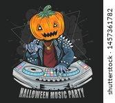 halloween pumpkin head dj music ... | Shutterstock .eps vector #1457361782