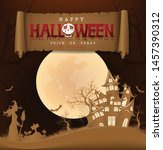 happy halloween background with ... | Shutterstock .eps vector #1457390312
