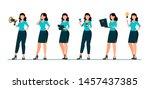 business woman cartoon... | Shutterstock .eps vector #1457437385