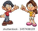 cartoon boy and girl standing... | Shutterstock .eps vector #1457438135