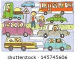 crosswalk.child's hand drawing... | Shutterstock .eps vector #145745606