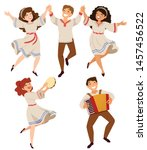 men and women dancing... | Shutterstock . vector #1457456522