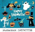 set of cartoon style halloween... | Shutterstock .eps vector #1457477738