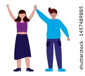 celebrating man and woman... | Shutterstock .eps vector #1457489885