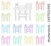 school desk multi color icon....