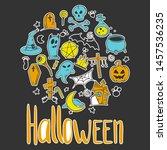 halloween set. pumpkin and... | Shutterstock .eps vector #1457536235