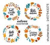 vector autumn collection of 4... | Shutterstock .eps vector #1457543375