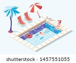 swimming pool isometric concept ... | Shutterstock .eps vector #1457551055