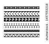 border polynesian  frame tribal ... | Shutterstock .eps vector #1457553218