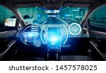 interior of autonomous car.... | Shutterstock . vector #1457578025