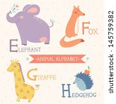 animal alphabet. letters e  f ... | Shutterstock .eps vector #145759382