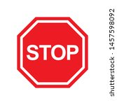 stop sign in trendy outline...