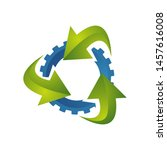 3 arrows and gear ecological... | Shutterstock .eps vector #1457616008