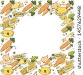 color frame. noodles soup.... | Shutterstock .eps vector #1457629448