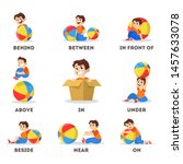 kid and ball set. learning... | Shutterstock .eps vector #1457633078