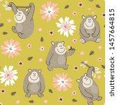 funny gorillas seamless pattern ... | Shutterstock .eps vector #1457664815