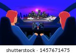 couple in self driving... | Shutterstock .eps vector #1457671475