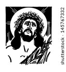 jesus with crown of thorns  ... | Shutterstock .eps vector #145767332