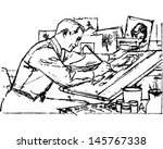 illustrator at work   retro... | Shutterstock .eps vector #145767338