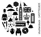 Set Of Silhouettes Of Symbols...