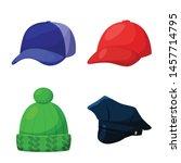 Vector design of headgear and napper symbol. Set of headgear and helmet vector icon for stock.