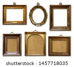 Set Of Picture Gold Wooden...