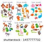 big set of cute cartoon animals.... | Shutterstock .eps vector #1457777732
