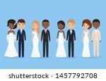 interracial bride and groom.... | Shutterstock .eps vector #1457792708