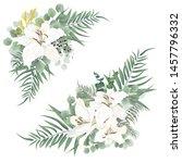 vector corners of green plants  ... | Shutterstock .eps vector #1457796332