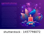 woman sitting in lotus position ... | Shutterstock .eps vector #1457798072